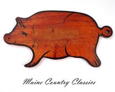 Vintage WOODEN PIG SHAPED DOUGH CUTTING BOARD Primitive Folk Art #Country #Unknown
