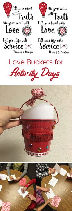 A fun Valentine's Day activity making love buckets for LDS Activity Day girls. Mutual Activities, Young Women Activities, Activities For Girls, Church Activities, Valentines Day Activities, Camping Activities, Camping Games, Indoor Activities, Summer Activities