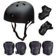 6Pcs Elbow Knee Wrist Pads Skateboard/ Skate Protection Set with Helmet for Kids BMX/ Skateboar/ Scooter, for Head Size 55-57cm - Black & Blue Image 1 of 7