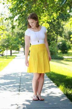 Half United | Something Good, yellow midi, Modcloth Skirt, crop top, AEO Crop top