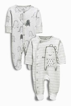 £12 Buy Two Pack Grey Dino Sleepsuits (0mths-2yrs) from the Next UK online shop