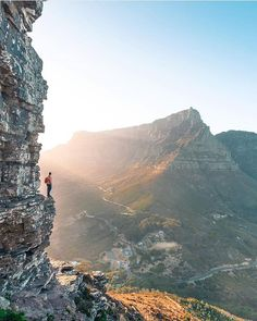 Living on the ledge. Looking at Table Mountain from the side of Lion's Head. (please note, Wally's Cave is still closed) Photo by The Ledge, Table Mountain, Mountain Photography, All Nature, Wonderful Places, Wonders Of The World, Grand Canyon, Scenery, Journey
