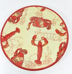 """Lobster & Crab Yellow & Red Lunch Salad Plate 8 1/4"""" April Cornell for Silvestri #AprilCornell"""