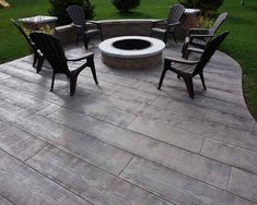 Wood Plank colored & stamped concrete works for residential & commercial concrete driveways, patios, sidewalks and more concrete projects. Wood Stamped Concrete, Poured Concrete Patio, Concrete Backyard, Concrete Patio Designs, Concrete Porch, Small Backyard Patio, Backyard Patio Designs, Wood Patio, Concrete Driveways