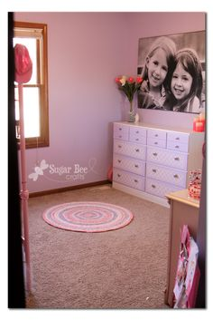 Fun girls room with bunk beds for space saver (not shown)