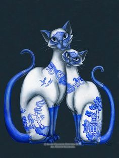 85 x 11 Print of Siamese Cats with Blue Willow Pattern by redrevvy, $12.99: