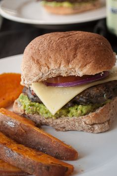 Spicy Black Bean Veggie Burger with Sweet Potato Wedges