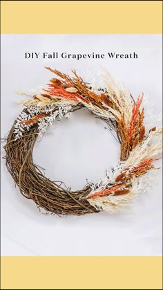 Create a simple dried flower grapevine wreath for your fall decor with affordable grasses and pampas from Afloral.com. #afloral #falldecorating #wreathmaking Christmas Décor, Christmas Wreaths, Christmas Decorations, Holiday Decor, Faux Flowers, Dried Flowers, Silk Flowers, Artificial Flowers And Plants, Diy Fall Wreath