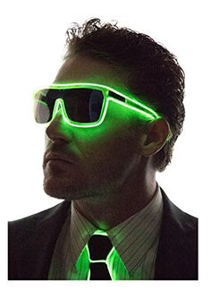 22390bad5b Neon Nightlife Green Frame Tinted Single Lens Tron Style Light Up Glasses    Check out the