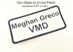 TWO Line or ONE Line Name Patch (Style 4) - Sew On, Iron On - Rectangle Name Patch, Shirt Patch, Uniform Patch, Embroidered Patch