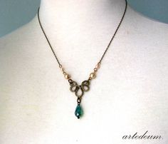Downton Abbey Necklace Lavalier Antique Gold Teal Blue green Beige Vintage jewelry Ornate Brass Fine necklace - The love of my Life