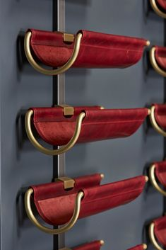 Wine Saddle Display Unit in red leather with brass and steel Architecture Restaurant, Restaurant Design, Drink Bar, Wine Cellar Design, Wine Rack Design, Joinery Details, Wine Display, Shelf Display, Wine Wall