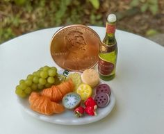 Dollhouse Miniature One Inch Scale Wine and Food platter by CSpykersMiniatures   Dolls & Bears, Dollhouse Miniatures, Food & Groceries   eBay!
