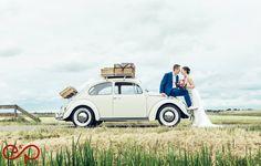 Wedding photoshoot with VW Beetle