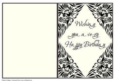 A5 Monochrome 13 Insert on Craftsuprint designed by Sheila Rodgers - An insert to fit an A5 card in off-white and black. - Now available for download!