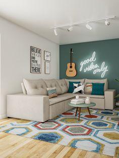 A decoração da sua sala de estar fica ainda mais autêntica quando recebe um violão na parede. Se você gosta de música, isso pode ficar ainda mais especial. Meditation Rooms, Home Studio, New Room, Home Living Room, Architecture Design, Home Decor, Green Bedroom Colors, Game Room Decor, Drawing Room Decoration