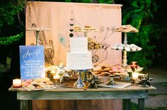 Celestial-Inspired Desert Wedding With Spanish Details - Green Wedding Shoes Dessert Bars, Dessert Bar Wedding, Wedding Cake Stands, Brunch Wedding, Wedding Desserts, Wedding Cakes, Wedding Foods, Dessert Buffet, Dessert Tables