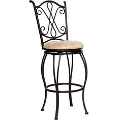 "Flash BS-T148-29-BGE-GG - 29"" Brown Metal Barstool with Beige Microfiber Swivel Seat 