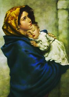 """One of the most beloved images of Our Lady, """"Madonna of the Streets"""" depicts a youthful Mary holding the Child Jesus close to her heart. This hangs in our hallway Mama Mary, Madonna Und Kind, Madonna And Child, Lady Madonna, Blessed Mother Mary, Blessed Virgin Mary, Religious Images, Religious Art, La Madone"""