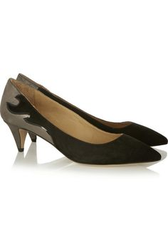 Heel measures approximately 50mm/ 2 inches Silver leather, black suede Slip on