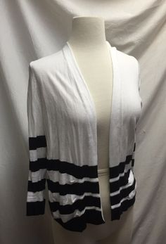 Chico's Cardigan White & Black Stripes Size 0 Long Sleeve Cotton Top #Chicos #Cardigan