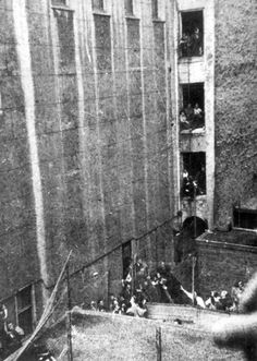 Amsterdam, Netherlands, Hollandse Schouwburg, Deportation, Summer 1942. Photographed by a woman who lived in the opposite side of the street.