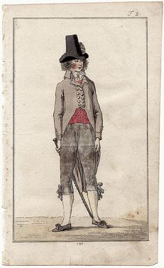 Journal des Luxus, 1791. Is he wearing a triple breasted waistcoat?!  I'm in love with a drawing…