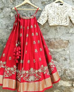 red colored partywear designer indian lehenga with similar embroidered white taffeta silk choli and a laced net dupatta in white color. Indian Gowns Dresses, Indian Fashion Dresses, Dress Indian Style, Indian Designer Outfits, Eid Dresses, Indian Wedding Outfits, Bridal Outfits, Indian Outfits, Eid Outfits