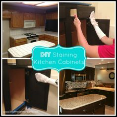 Updated with new pictures! {DIY Staining Kitchen Cabinets} A complete kitchen makeover staining cabinets from oak to a dark rich espresso color. Step by step instructions.
