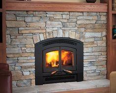 New Wood Burning Fireplace Remodel Pellet Stove 48 Ideas Stove Fireplace, Wood Fireplace, Fireplace Remodel, Cottage Fireplace, Fireplace Ideas, Wood Burning Stove Insert, Wood Burning Fireplace Inserts, Black Wood Floors, Dark Wood Trim