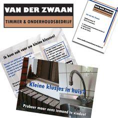 Logo design, business card and postcard for Van der Zwaan Timmer & Onderhoudsbedrijf www.vanderzwaantimmerwerken.nl   Interested in a design? www.beeldkrachtontwerp.nl