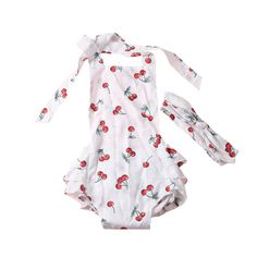 >> Click to Buy << Infant Babygirls Clothes Kids Playsuit Cute Cherry Printed Baby Bodysuit Ruffle Backless Baby Girls Sunsuit with Bunny Headband #Affiliate