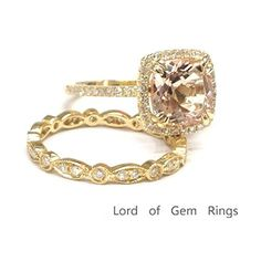 $859 Cushion Morganite Engagement Ring Sets Pave  Diamond Wedding 14K Yellow Gold,8mm,Art Deco Band