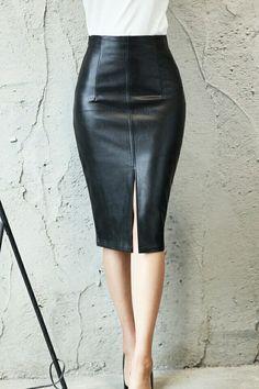 Интернет-магазин Плюс Размеры S-4XL кожаная юбка зима Мода 2017 г. черный по колено юбка-карандаш тонкий офис Для женщин юбка Винтаж юбка миди   Aliexpress для мобильных