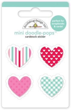 Doodlebug Design - Sweet Things Collection - Doodle-Pops - 3 Dimensional Cardstock Stickers - Valentines Mini
