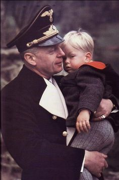 Hitler's foreign minister, Joachim von Ribbentrop, with one of his five children, Barthold Henkell von Ribbentrop (born 19 December 1940, in Berlin).