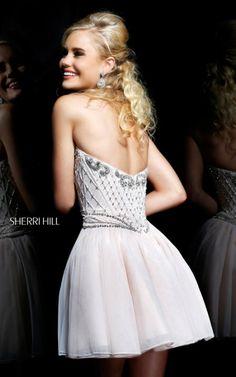 White Sherri Hill 11058 Tulle Sweetheart Beaded Cocktail Dress