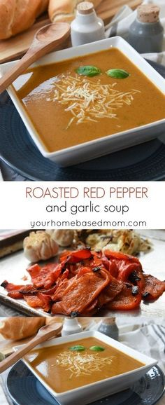 Roasted Red Pepper Soup with Garlic Recipe - This homemade soup has amazing flavor and is the perfect dinner solution as the nights get longer and cooler.