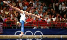 Svetlana Khorkina of Russia on beam at the 2000 Olympic Games