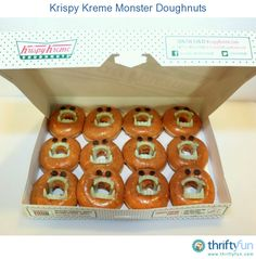 These monster doughnuts make a great treat to bring to a school Halloween party. Grab as many dozen doughnuts as you need, some plastic vampire teeth, and some chocolate chips.