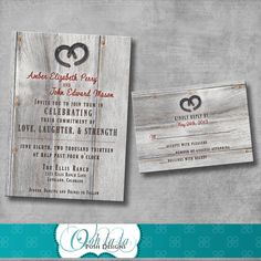 Rustic Charm Wedding Invitation with by OohlalaPoshDesigns on Etsy, $25.00