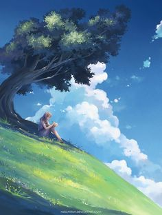of The Day: megatruh. Under a tree, upon a hill Wonderful whimsical fantasy landscape art Fantasy Landscape, Landscape Art, Fantasy Art, Landscape Paintings, Anime Kunst, Anime Scenery, Anime Art Girl, Amazing Art, Concept Art