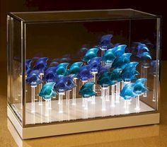 I only need 24 more Lalique fish to complete this collection. Christmas Decor Diy Cheap, Christmas Window Decorations, Pine Cone Decorations, Festival Decorations, Diy Christmas Gifts, Burlap Valance, Window Ledge, Rainbow Fish, Pine Cone Crafts