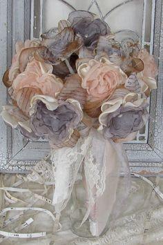 Wedding Fabric Flower Bouquet Vintage Inpirered by mybrokenart, $75.00