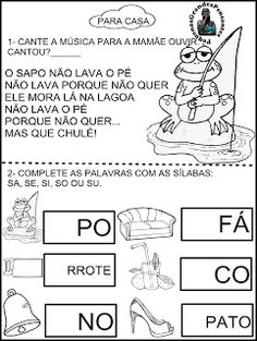 Para Casa Letra S Comics, Everton, Preschool Literacy Activities, 1st Day Of School, Preschool, Lyrics, Index Cards, Second Grade, Group
