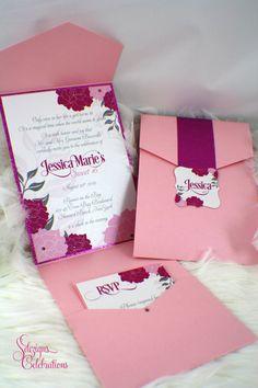 Flowers and Glitz Birthday Invitations   Bat Mitzvah   Sweet Sixteen   Quincea�era   Glitter   Glam   Fabulous   Wedding   Pink   Fuchsia