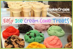Easy Ice Cream Cone Treats http://www.cookiecrazie.com/2012/05/scoops-of-ice-cream-cookie-tutorial.html