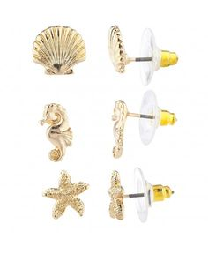 fb8a005a8 Gold Tone Seashell Seahorse Starfish Tropical Nautical Earrings -  C6183WX9MYK