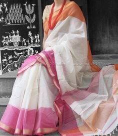 Designer Handwoven Woven Maheshwari saree | India1001.com