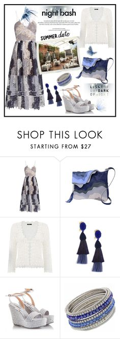 """""""Summer Date Night"""" by onesweetthing ❤ liked on Polyvore featuring self-portrait, Dorothy Perkins, Louis Vuitton, Oscar de la Renta, Fratelli Karida and NEXTE Jewelry"""